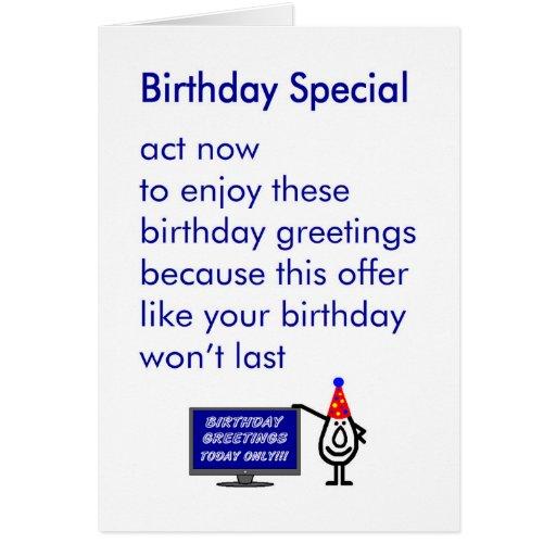 birthday special  a funny birthday poem card  zazzle