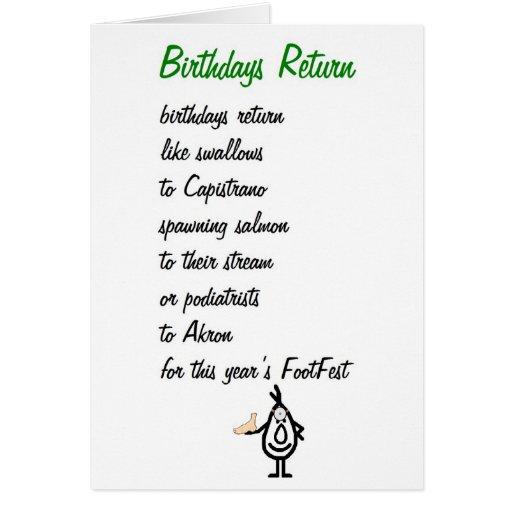 Birthdays Return - A Funny Birthday Poem Card