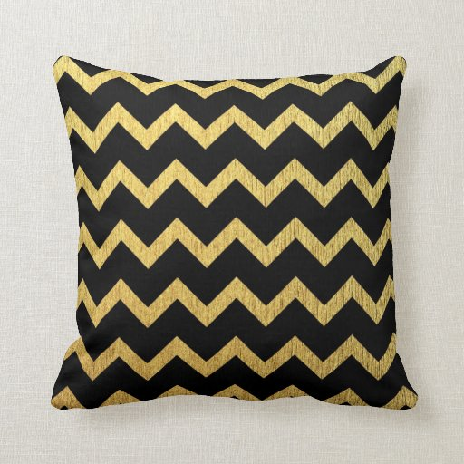black and gold chevron throw pillow zazzle. Black Bedroom Furniture Sets. Home Design Ideas