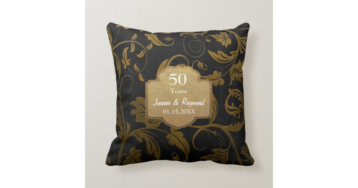 50th Wedding Anniversary Gift Pillows: Black And Gold Damask 50th Wedding Anniversary Throw