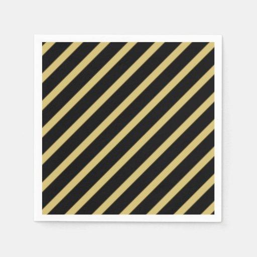 Black And Gold Beverage Napkins: Black And Gold Diagonal Stripes Paper Napkin