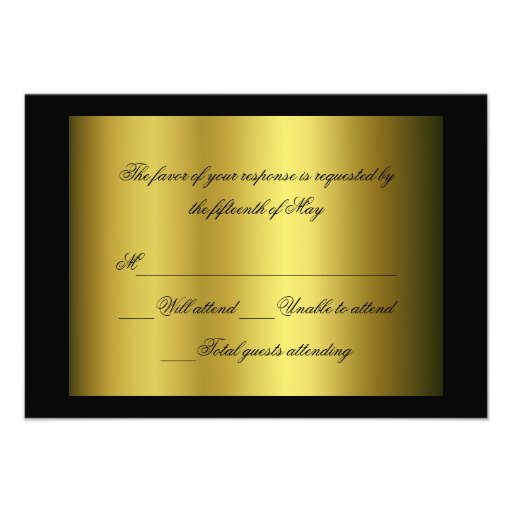 "black and gold formal response card 35"" x 5"" invitation"