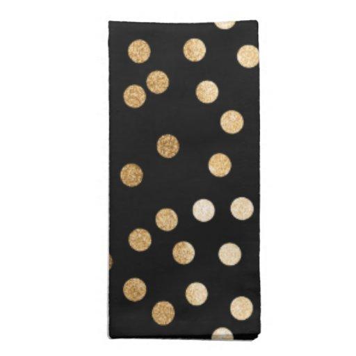 Black And Gold Beverage Napkins: Black And Gold Glitter City Dots Napkin