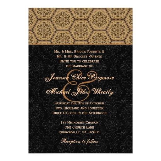 Black and Gold Monogram Wedding Template H667 Personalized