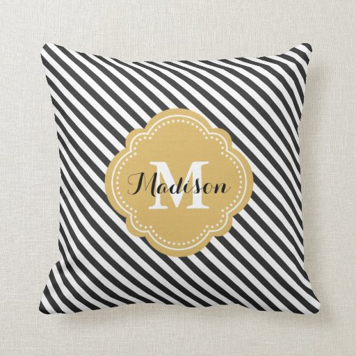 black and gold striped monogram throw pillow zazzle. Black Bedroom Furniture Sets. Home Design Ideas