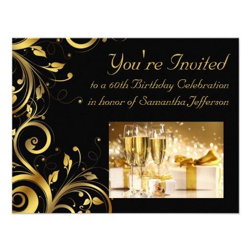 Black And Gold Swirl Custom 60th Birthday Party Invites