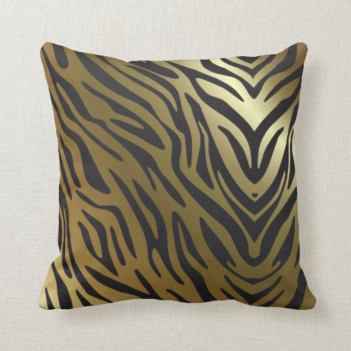 black and gold zebra pattern throw pillow zazzle. Black Bedroom Furniture Sets. Home Design Ideas