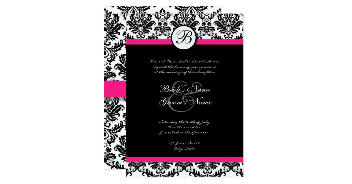 Pink And Black Wedding Invitations: Black And Hot Pink Damask Wedding Invitation