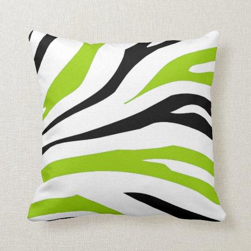 black and lime green zebra stripes print pillow zazzle. Black Bedroom Furniture Sets. Home Design Ideas