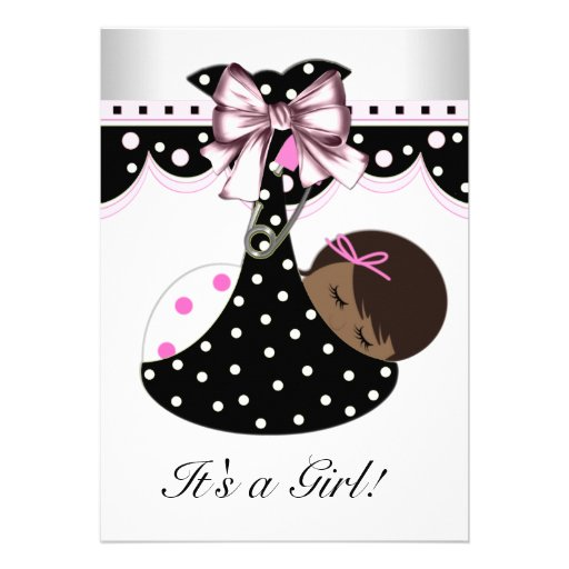 "Black And Pink Baby Shower 5"" X 7"" Invitation Card"