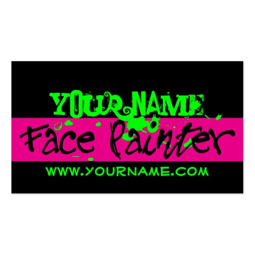 Face Painting Black And Pink Business Card Templates