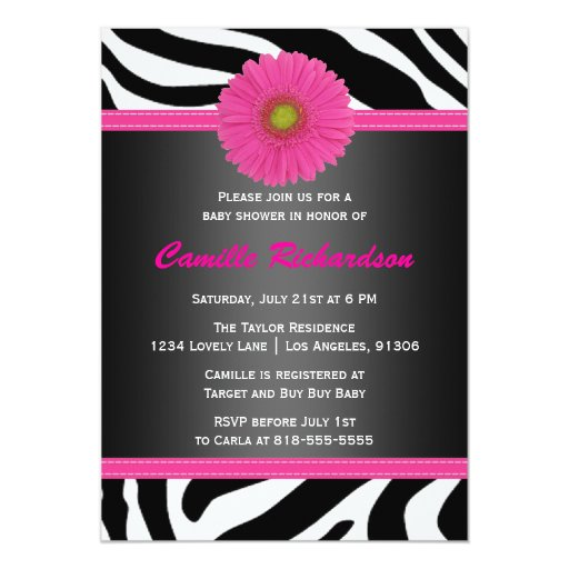Black And Pink, Zebra, Girl Baby Shower Invitation