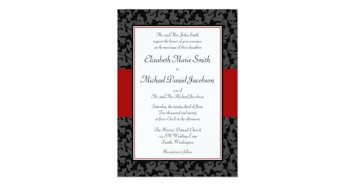 Wedding Invitations Red And Black: Black And Red Damask Swirl Wedding Invitations