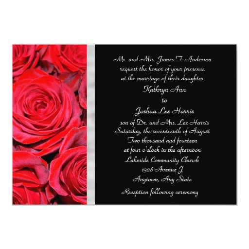 Wedding Invitations With Red Roses: Black And Red Roses Wedding Invitation