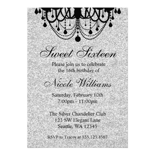 Black And Silver Chandelier Sweet 16 Birthday Personalized Invitation