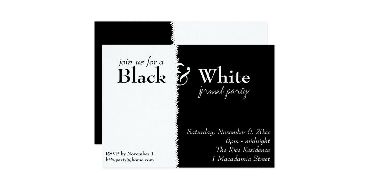 Black And White 2 Theme Party Invitation Zazzle
