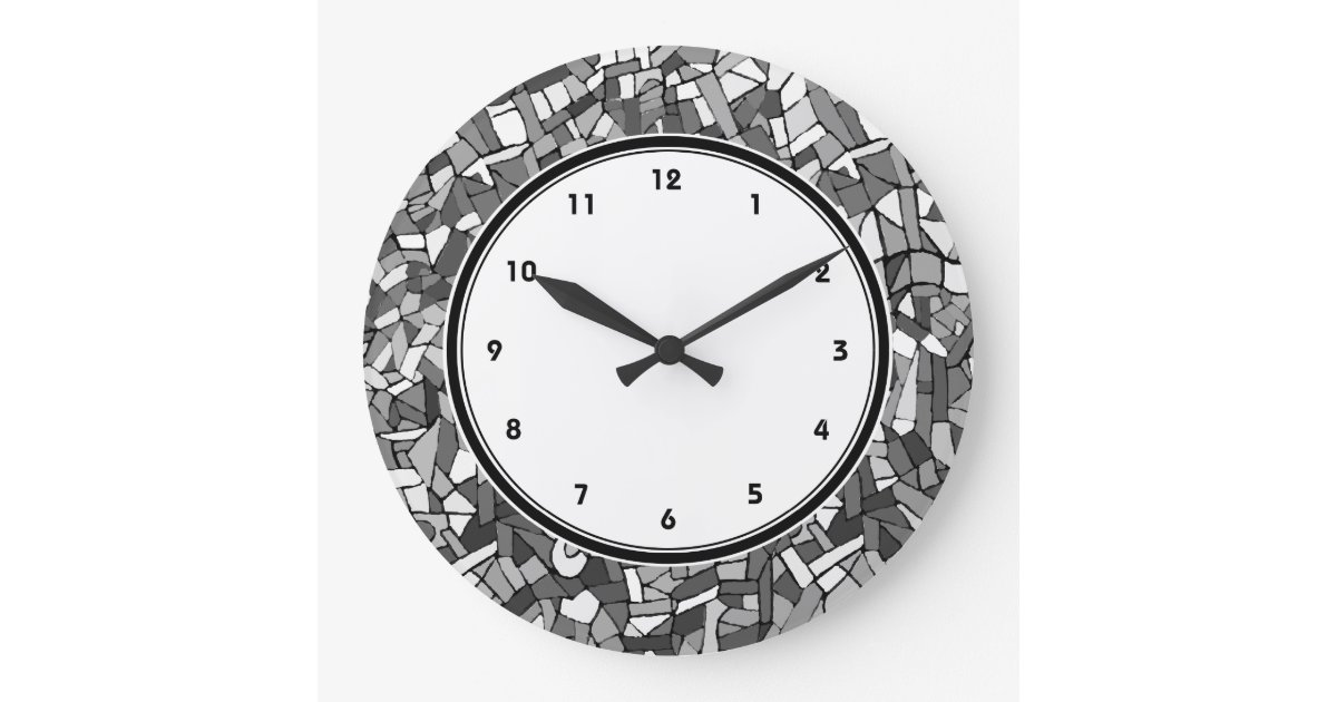 Black And White Abstract Mosaic Wall Clock Zazzle