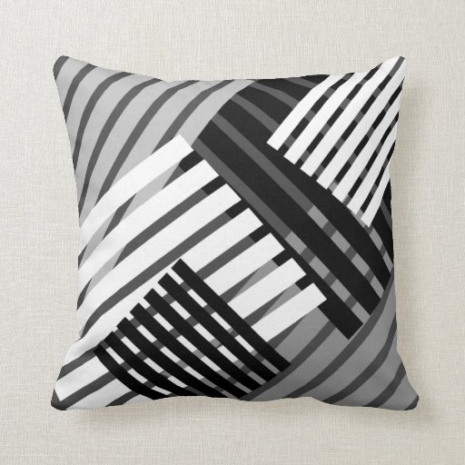 black and white abstract stripe throw pillow zazzle. Black Bedroom Furniture Sets. Home Design Ideas
