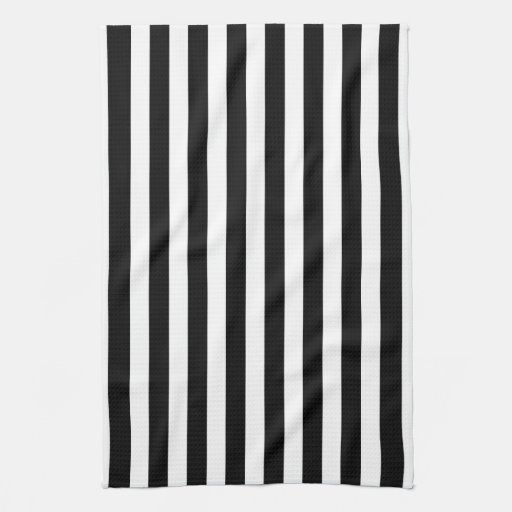 Monogram Kitchen Towels Black and White Cabana Stripe Towels | Zazzle