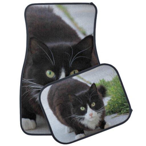 Black And White Cat Car Mat Set Zazzle