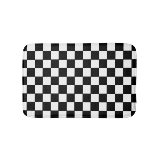 Checkered Mat: Black And White Checkered - Bath Mat