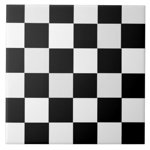 Black and White Checkered Ceramic Tile from Zazzle. - Black And White Ceramic Tile