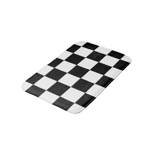 Checkered Mat: Black And White Checkered Checkerboard Pattern Bathroom