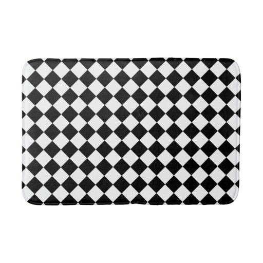 Checkered Mat: Black And White Checkered Foam Bath Mat Bath Mats