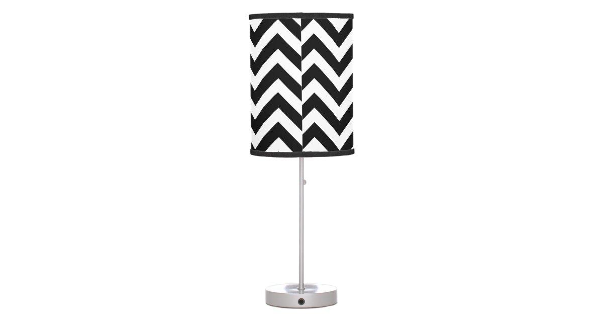 Black And White Chevron Pattern Table Lamps Zazzle