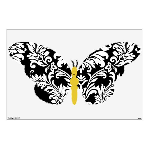 Black And White Damask Butterfly Wall Decal
