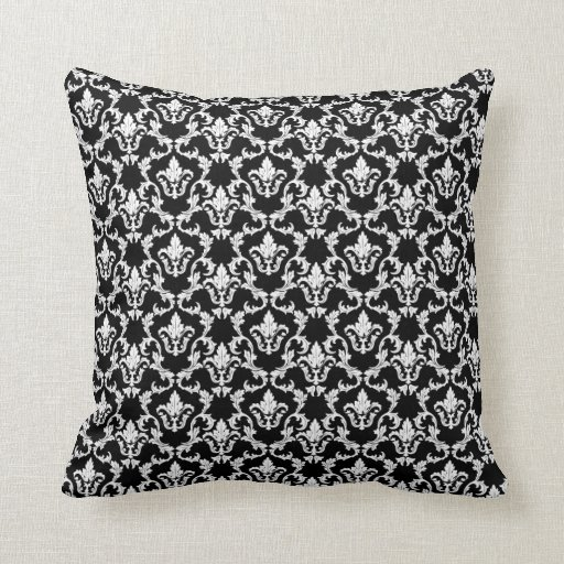 black and white damask decorative throw pillow zazzle. Black Bedroom Furniture Sets. Home Design Ideas