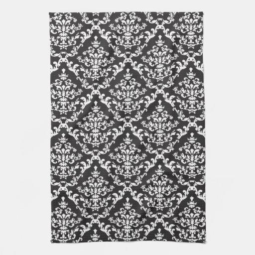 Black And White Damask Kitchen Towels