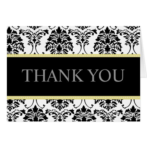 Black and White Damask Thank You Note Cards | Zazzle