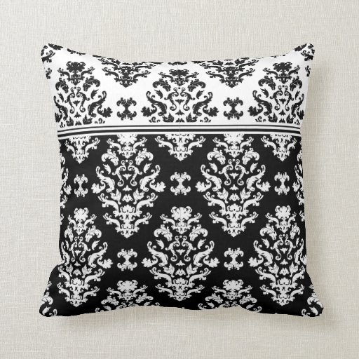 black and white damask throw pillow zazzle. Black Bedroom Furniture Sets. Home Design Ideas