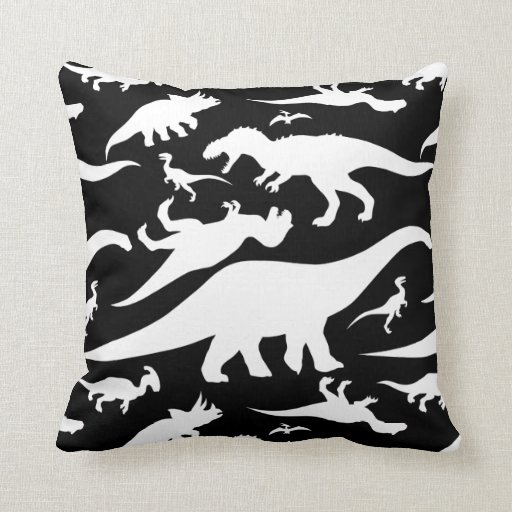 black and white dinosaur pattern throw pillow zazzle. Black Bedroom Furniture Sets. Home Design Ideas