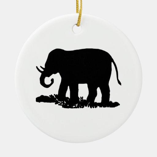 Shepherd Gold On Blue Silhouette Ornament: Black And White Elephant Silhouette Ceramic Ornament