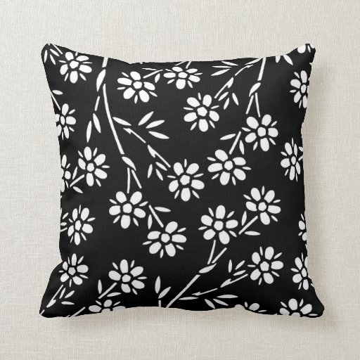 black and white floral decorative pillow zazzle. Black Bedroom Furniture Sets. Home Design Ideas