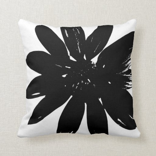 black and white flower pillow. Black Bedroom Furniture Sets. Home Design Ideas