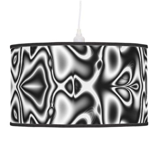 Fractal Pendant Lights: Black And White Fractal Pendant Lamp