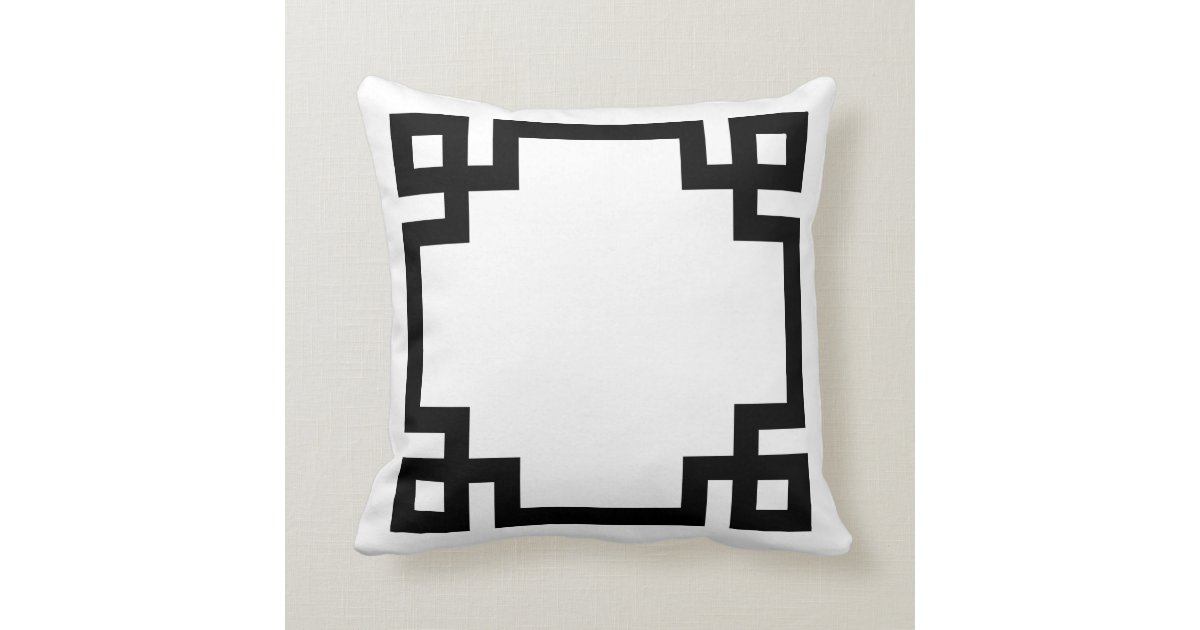 Black And White Greek Key Border Throw Pillow Zazzle