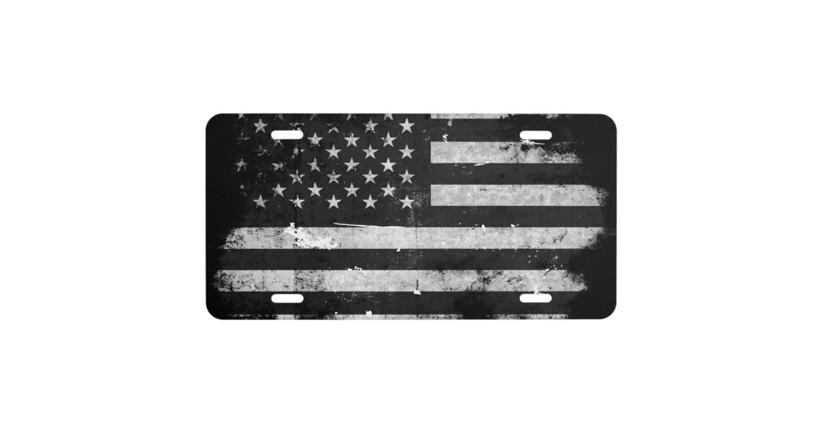 Black And White Grunge American Flag License Plate Zazzle