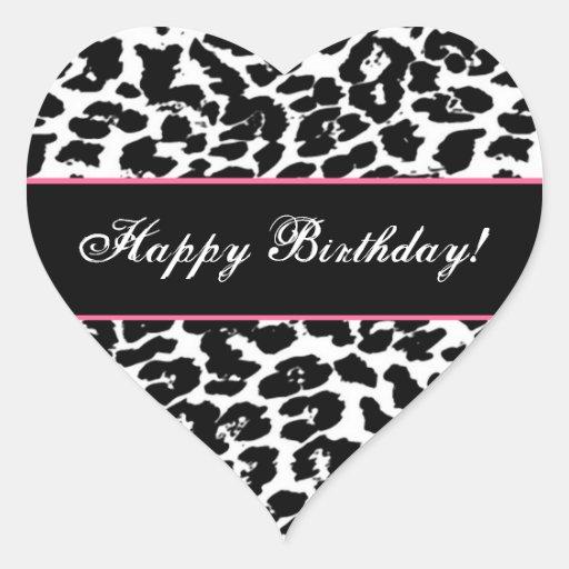 Black and White Leopard Happy Birthday G561 Heart Sticker ...