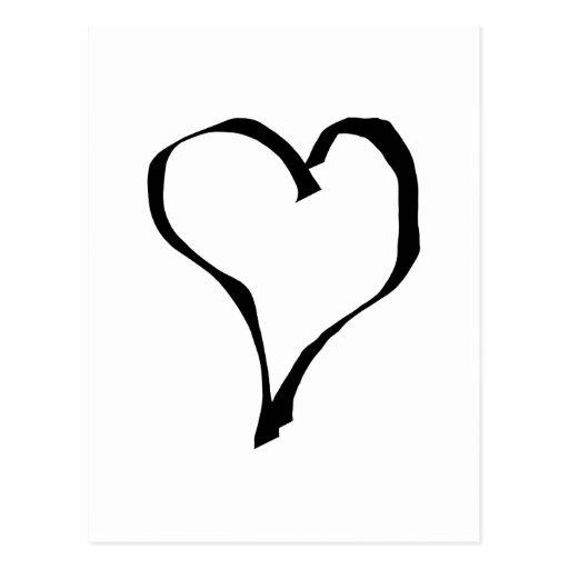 Black and White Love Heart Design. Postcard | Zazzle