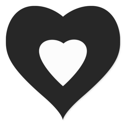 Black and White Love Heart Design. Heart Sticker | Zazzle