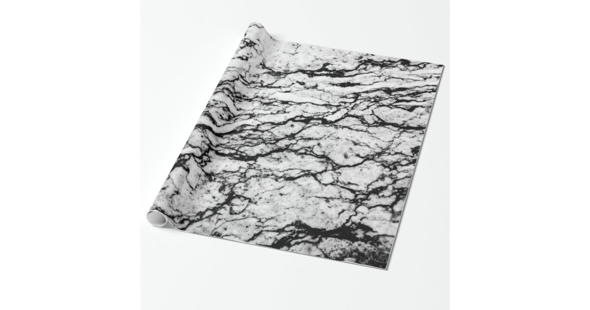 Black And White Marble Stone Pattern Wrapping Paper Zazzle