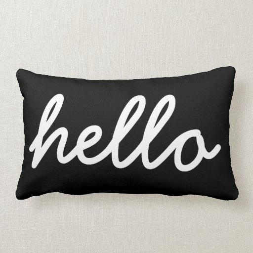 black and white modern hello throw pillow zazzle. Black Bedroom Furniture Sets. Home Design Ideas