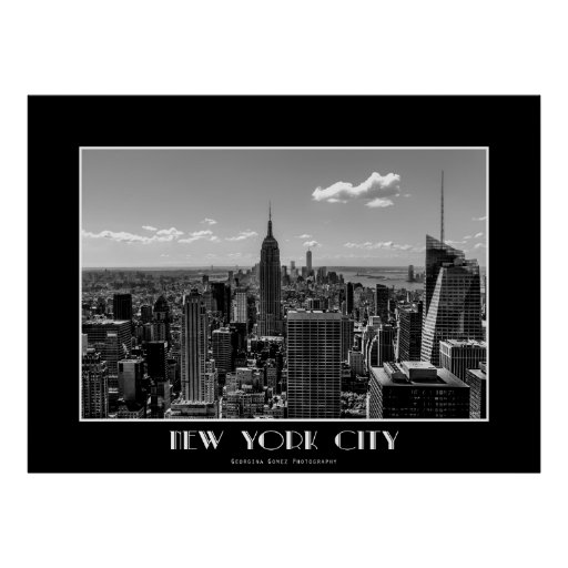 black and white new york city skyline photo poster zazzle. Black Bedroom Furniture Sets. Home Design Ideas