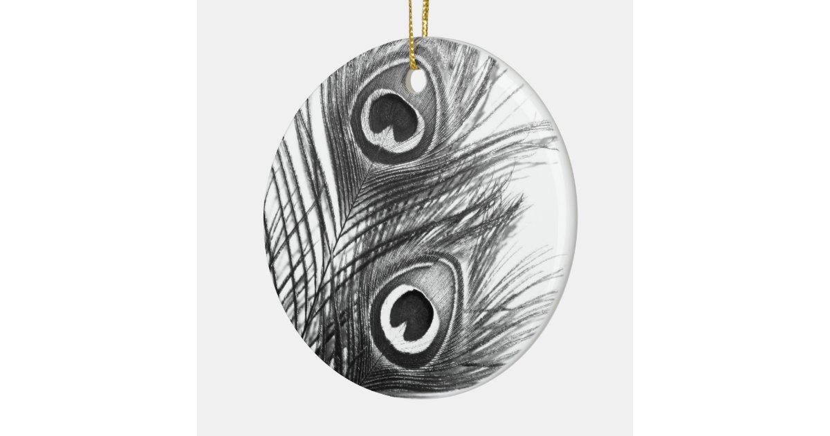 Black and White Peacock Feather Ornament | Zazzle