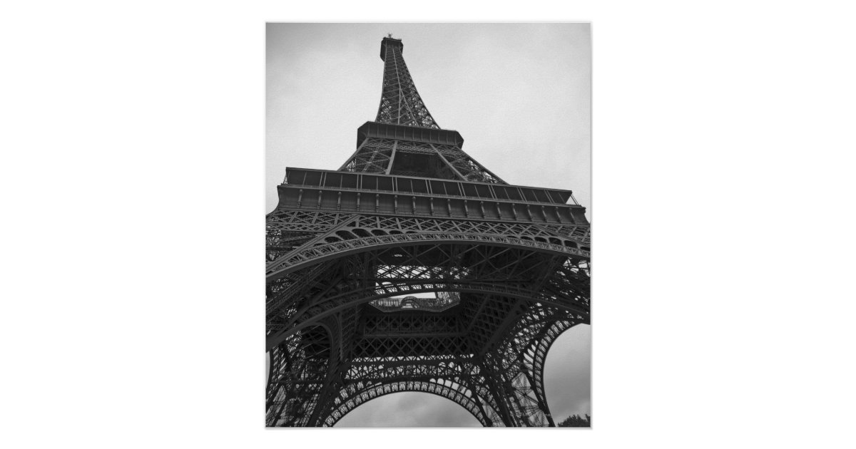 Eiffel Tower Images Black And White: Black And White Photograph Of The Eiffel Tower Poster