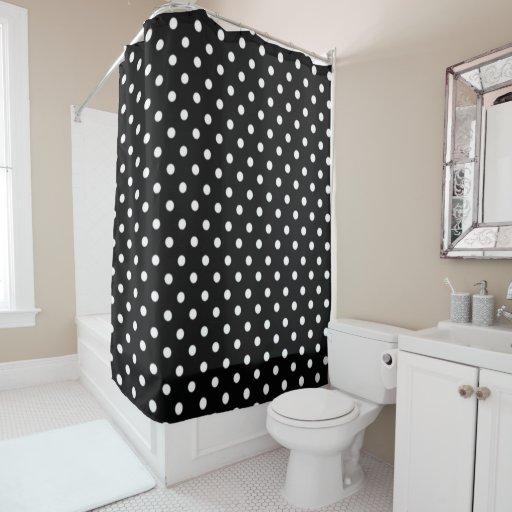 black and white polka dot print shower curtain zazzle. Black Bedroom Furniture Sets. Home Design Ideas